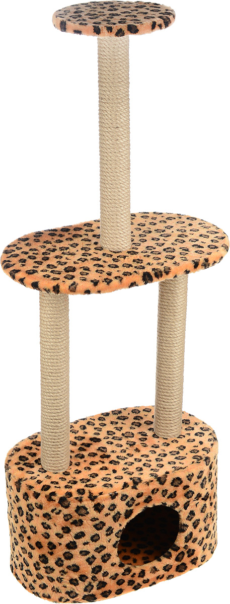 Игровой комплекс для кошек Меридиан, 3-ярусный, с домиком и когтеточкой, цвет: коричневый, черный, бежевый, 51 х 33 х 131 см86017Игровой комплекс для кошек Меридиан выполнен из высококачественного ДВП и ДСП и обтянут искусственным мехом. Изделие предназначено для кошек. Комплекс имеет 3 яруса. Ваш домашний питомец будет с удовольствием точить когти о специальные столбики, изготовленные из джута. А отдохнуть он сможет либо на полках, либо в расположенном внизу домике.Общий размер: 51 х 33 х 131 см.Размер домика: 51 х 33 х 28 см.Размер большой полки: 51 х 33 см.Диаметр малой полки: 25 см.