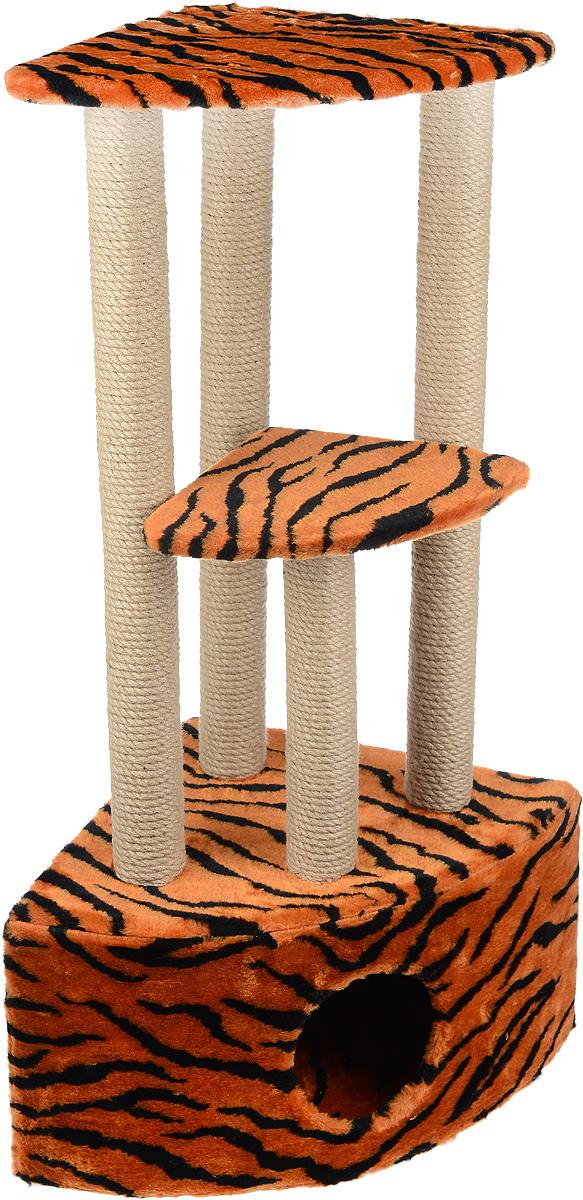 Игровой комплекс для кошек Меридиан, 3-ярусный, угловой, с домиком и когтеточкой, цвет: оранжевый, черный, бежевый, 42 х 42 х 110 см0120710Игровой комплекс для кошек Меридиан выполнен из высококачественного ДВП и ДСП и обтянут искусственным мехом. Изделие предназначено для кошек. Комплекс имеет 3 яруса. Ваш домашний питомец будет с удовольствием точить когти о специальные столбики, изготовленные из джута. А отдохнуть он сможет либо на полках, либо в расположенном внизу домике.Общий размер: 42 х 42 х 110 см.Размер домика: 42 х 42 х 28 см.Размер большой полки: 35 х 35 см.Размер малой полки: 26 х 26 см.