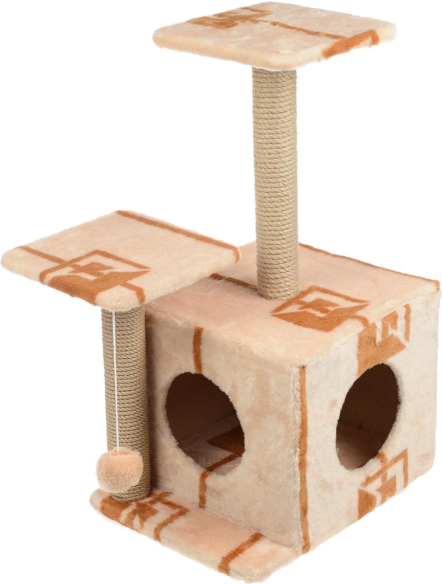 Игровой комплекс для кошек Меридиан, с домиком и когтеточкой, цвет: коричневый, бежевый, 45 х 47 х 75 смД131 ГИгровой комплекс для кошек Меридиан выполнен из высококачественного ДВП и ДСП и обтянут искусственным мехом. Изделие предназначено для кошек. Ваш домашний питомец будет с удовольствием точить когти о специальный столбик, изготовленный из джута. А отдохнуть он сможет либо на полках разной высоты, либо в расположенном внизу домике. Также комплекс оснащен подвесной игрушкой, которая привлечет вашего питомца.Общий размер: 45 х 47 х 75см.Размер домика: 45 х 36 х 32 см.Высота полок (от пола): 75 см, 45 см.Размер полок: 26 х 26 см.