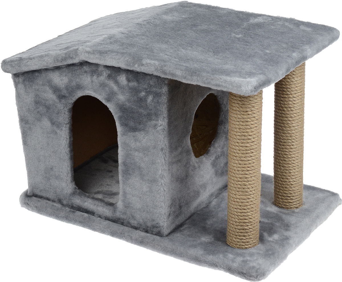 Игровой комплекс для кошек Меридиан Патриция, с домиком и когтеточкой, цвет: светло-серый, бежевый , 63 х 40 х 41 см0120710Игровой комплекс для кошек Меридиан Патриция выполнен из высококачественного ДВП и ДСП и обтянут искусственным мехом. Изделие предназначено для кошек. Ваш домашний питомец будет с удовольствием точить когти о специальные столбики, изготовленные из джута. А отдохнуть он сможет в оригинальном домике.