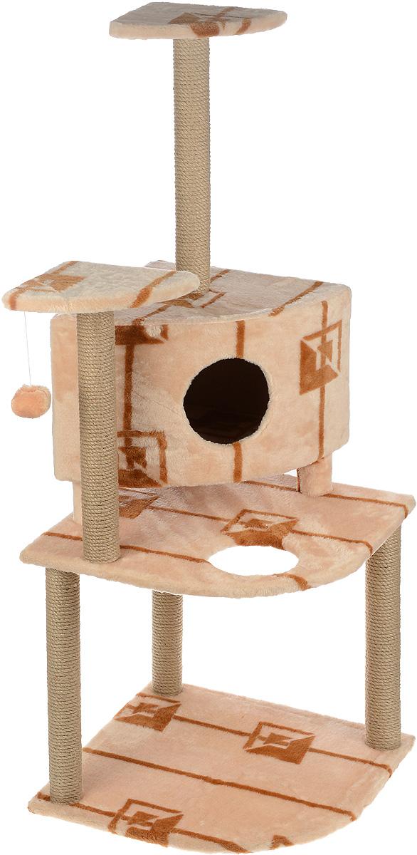 Игровой комплекс для кошек Меридиан, с домиком и когтеточкой, цвет: коричневый, бежевый, 55 х 55 х 140 см0120710Игровой комплекс для кошек Меридиан выполнен из высококачественного ДВП и ДСП и обтянут искусственным мехом. Изделие предназначено для кошек. Комплекс имеет 3 яруса. Ваш домашний питомец будет с удовольствием точить когти о специальные столбики, изготовленные из джута. А отдохнуть он сможет либо на полках, либо в домике. На одной из полок расположена игрушка, которая еще сильнее привлечет внимание питомца.Общий размер: 55 х 55 х 140 см.Размер домика: 42 х 42 х 31 см.Размер полок: 26 х 26 см.Размер нижнего яруса: 55 х 55 см.