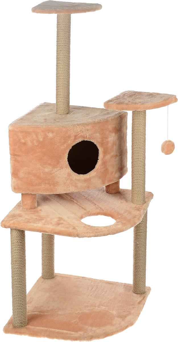 Игровой комплекс для кошек Меридиан, с домиком и когтеточкой, цвет: светло-коричневый, бежевый, 55 х 55 х 140 см0120710Игровой комплекс для кошек Меридиан выполнен из высококачественного ДВП и ДСП и обтянут искусственным мехом. Изделие предназначено для кошек. Комплекс имеет 3 яруса. Ваш домашний питомец будет с удовольствием точить когти о специальные столбики, изготовленные из джута. А отдохнуть он сможет либо на полках, либо в домике. На одной из полок расположена игрушка, которая еще сильнее привлечет внимание питомца.Общий размер: 55 х 55 х 140 см.Размер домика: 42 х 42 х 31 см.Размер полок: 26 х 26 см.Размер нижнего яруса: 55 х 55 см.