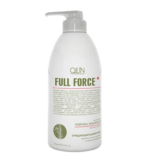 Ollin Очищающий шампунь для волос и кожи головы с экстрактом бамбука Full Force Hair & Scalp Purfying Shampoo 750 млFS-00897Hair & Scalp Purfying Shampoo - шампунь очищающий для волос и кожи головы с экстрактом бамбука. Увлажняет волосы и не пересушивает кожу головы из-за отсутствия в составе жестких ПАВ. Действие экстракта бамбука направлено на укрепление волос, а комплекс Exo-T создает невесомую биопленку, которая предотвращает потерю влаги и успокаивает чувствительную кожу головы. Предназначен для глубокого очищения волос и кожи головы.Без искусственных красителей, Без парабенов, Без SLES