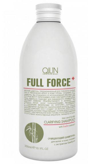 Ollin Очищающий шампунь для волос и кожи головы с экстрактом бамбука Full Force Hair & Scalp Purfying Shampoo 300 млХВ-260Hair & Scalp Purfying Shampoo - шампунь очищающий для волос и кожи головы с экстрактом бамбука. Увлажняет волосы и не пересушивает кожу головы из-за отсутствия в составе жестких ПАВ. Действие экстракта бамбука направлено на укрепление волос, а комплекс Exo-T создает невесомую биопленку, которая предотвращает потерю влаги и успокаивает чувствительную кожу головы. Предназначен для глубокого очищения волос и кожи головы.Без искусственных красителей, Без парабенов, Без SLES