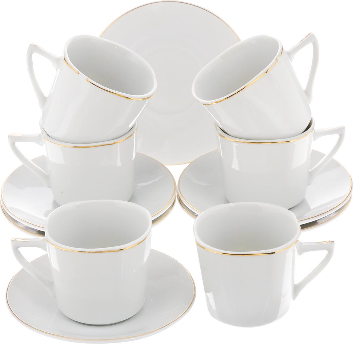 Набор кофейный Loraine, 12 предметов. 25608VT-1520(SR)Кофейный набор Loraine состоит из 6 чашек и 6 блюдец. Изделия выполнены из высококачественного фарфора и оформлены золотистой каймой. Такой набор станет прекрасным украшением стола и порадует гостей изысканным дизайном и утонченностью. Набор упакован в подарочную коробку, задрапированную внутри белой атласной тканью. Объем чашки: 90 мл. Диаметр чашки (по верхнему краю): 6 см. Высота чашки: 5,5 см. Диаметр блюдца (по верхнему краю): 10,5 см. Высота блюдца: 2 см.