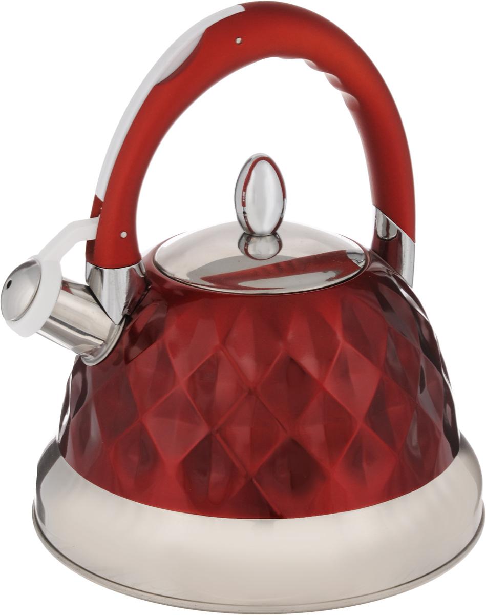 Чайник Mayer & Boch, со свистком, цвет: серебристый, красный, 3,5 л. 24884115510Корпус чайника Mayer & Boch выполнен из высококачественной нержавеющей стали, что обеспечивает долговечность использования. Фиксированная ручка снабжена механизмом для открывания носика, что делает использование чайника очень удобным и безопасным. Носик снабжен свистком, что позволит вам контролировать процесс подогрева или кипячения воды. Капсулированное дно с прослойкой из алюминия обеспечивает наилучшее распределения тепла. Эстетичный и функциональный, чайник будет оригинально смотреться в любом интерьере. Подходит для газовых, стеклокерамических, галогеновых и электрических плит. Изделие можно мыть в посудомоечной машине. Высота чайника (без учета ручки и крышки): 13 см.Высота чайника (с учетом ручки и крышки): 26 см. Диаметр основания чайника: 22 см. Диаметр чайника (по верхнему краю): 10 см.