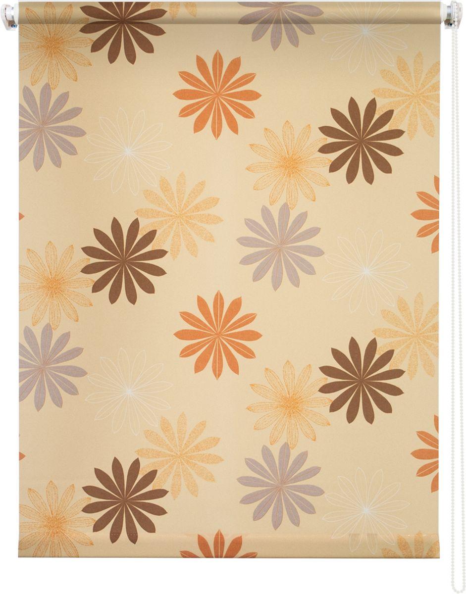 Штора рулонная Уют Космея, цвет: желтый, 120 х 175 см1004900000360Штора рулонная Уют Космея выполнена из прочного полиэстера с обработкой специальным составом, отталкивающим пыль. Ткань не выцветает, обладает отличной цветоустойчивостью и хорошей светонепроницаемостью. Изделие оформлено красочным цветочным узором, отлично подойдет для спальни, кухни, гостиной, а также детской. Штора закрывает не весь оконный проем, а непосредственно само стекло и может фиксироваться в любом положении. Она быстро убирается и надежно защищает от посторонних взглядов. Компактность помогает сэкономить пространство. Универсальная конструкция позволяет крепить штору на раму без сверления, также можно монтировать на стену, потолок, створки, в проем, ниши, на деревянные или пластиковые рамы. В комплект входят регулируемые установочные кронштейны и набор для боковой фиксации шторы. Возможна установка с управлением цепочкой как справа, так и слева. Изделие при желании можно самостоятельно уменьшить. Такая штора станет прекрасным элементом декора окна и гармонично впишется в интерьер любого помещения.