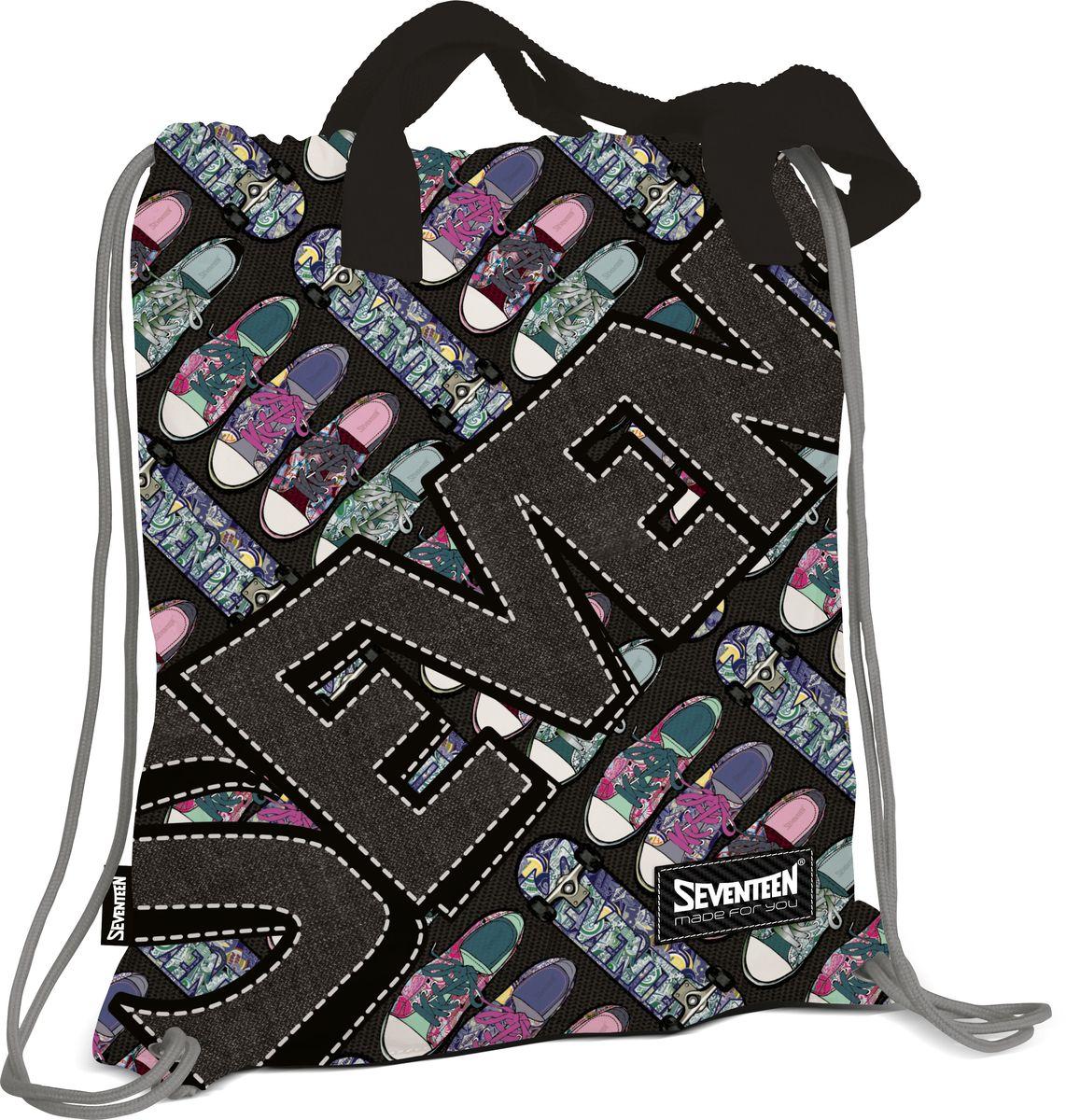 Рюкзак для обуви с ручками Seventeen72523WDСумка-рюкзак для обуви с ручками. Внутри дополнительный карман на молнии для мелочей Размер 43 х 39 х 1 см. Seventeen