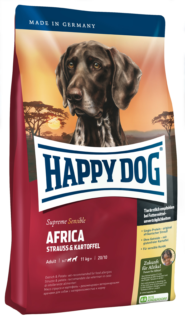 Корм сухой Happy Dog Тоскана для собак средних и крупных пород, со страусом и картофелем, 12,5 кг2379Happy Dog Тоскана - полнорационный корм для всех взрослых собак весом от 11 кг с нормальной потребностью в энергии. Необыкновенно вкусный полнорационный корм идеален для всех требовательных лакомок, которые предпочитают нестандартный корм или очень разборчивы в еде. Он отлично подходит также для собак средних и крупных пород с чувствительным пищеварением, так как учитывает их особые потребности. Мясо страуса является источником очень редкого белка и идеально подходит для собак, страдающих пищевой непереносимостью. Картофель не содержит глютена и рекомендован для собак, не переносящих злаки. Эксклюзивную рецептуру дополняют ценные Омега-3 и Омега-6 жирные кислоты, которые гарантируют собаке здоровую кожу и блестящую шерсть.Состав: картофельные хлопья (48%), мясо страуса (18%), картофель, масло из семян подсолнечника, свекольная пульпа, гидролизат печени, яблочная пульпа (0,8%), рапсовое масло, морская соль, дрожжи (экстрагированные).Аналитический состав: сырой протеин 20%, сырой жир 10%, сырая клетчатка 3%, сырая зола 7,5%, кальций 1,35%, фосфор 0,95%, натрий 0,35%, Омега-6 жирные кислоты 2,6%, Омега-3 жирные кислоты 0,28%.Витамины/кг: витамин А 12000 М.E., витамин D3 1200 М.E., витамин Е 75 мг, витамин В1 4 мг, витамин В2 6 мг, витамин В6 4 мг, биотин 575 мкг, кальций D-пантотенат 10 мг, ниацин 40 мг, витамин В12 70 мкг, холинхлорид. Микроэлементы/кг: железо 60 мг, медь 105 мг, цинк 12 мг, марганец 125 мг, йод 25 мг, селен 2 мг.Товар сертифицирован.