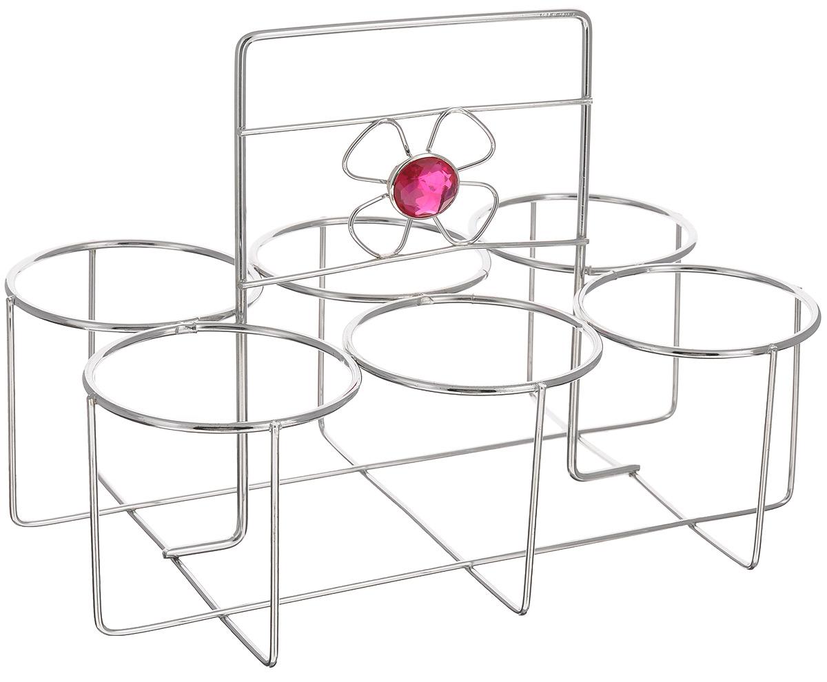 Подставка для стаканов Mayer & Boch115510Подставка для стаканов Mayer & Boch сделана из нержавеющей стали с хромированным покрытием и украшена декоративным элементом в виде цветка.Данное изделие позволит компактно разместить столовую посуду, тем самым сэкономить рабочее пространство. Изделие предназначено для размещения одновременно 6 стаканов диаметром до 7 см.Благодаря стильному дизайну, она впишется в интерьер любой кухни.