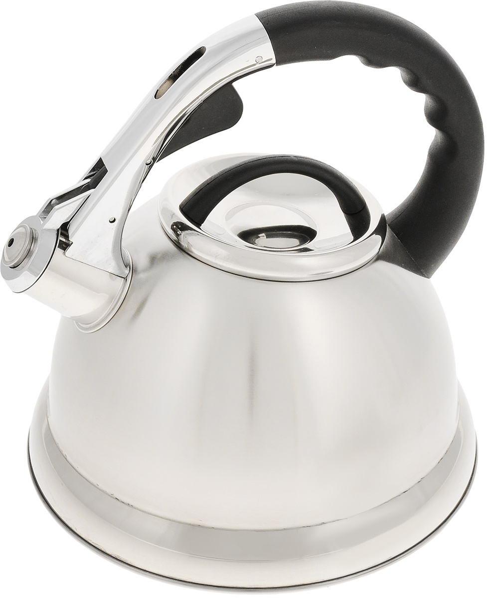 Чайник Mayer & Boch, со свистком, 2,7 л. 20209НМ 5550Чайник Mayer & Boch выполнен из высококачественной нержавеющей стали, которая не окисляется и не впитывает запахи, напитки всегда будут ароматны. Фиксированная ручка, изготовленная из пластика и цинка, снабжена клавишей для открывания носика, что делает использование чайника очень удобным и безопасным. Носик снабжен свистком, что позволит вам контролировать процесс подогрева или кипячения воды.Эстетичный и функциональный чайник будет оригинально смотреться в любом интерьере. Подходит для всех типов плит, кроме индукционных. Можно мыть в посудомоечной машине. Диаметр чайника (по верхнему краю): 10 см. Высота чайника (без учета крышки и ручки): 13 см. Высота чайника (с учетом ручки): 23 см.