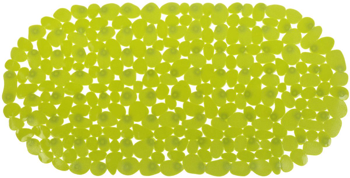 Коврик для ванной комнаты Aqua Line Олива, цвет: зеленый, 68 х 35 см1300065Коврик для ванной комнаты Aqua Line Олива, изготовленный из 100% ПВХ, идеально впишется в интерьер вашей ванной комнаты. Коврик имеет множество плюсов: он не деформируется, устойчив к воздействию бытовой химии, обладает высокой плотностью, легко моется, не впитывает воду и очень быстро высыхает при ее попадании, не скользит по гладкой поверхности. Такой коврик незаменим для купания пожилых людей или детей, его можно положить на дно ванны, это сведет опасность упасть к минимуму. Присоски на нижней стороне позволяют надежно зафиксировать коврик на любой гладкой поверхности, будь то кафельная плитка на полу или гладкое покрытие ванны. Специальный массажный эффект, достигающийся за счет его текстуры, подарит ощущение комфорта.