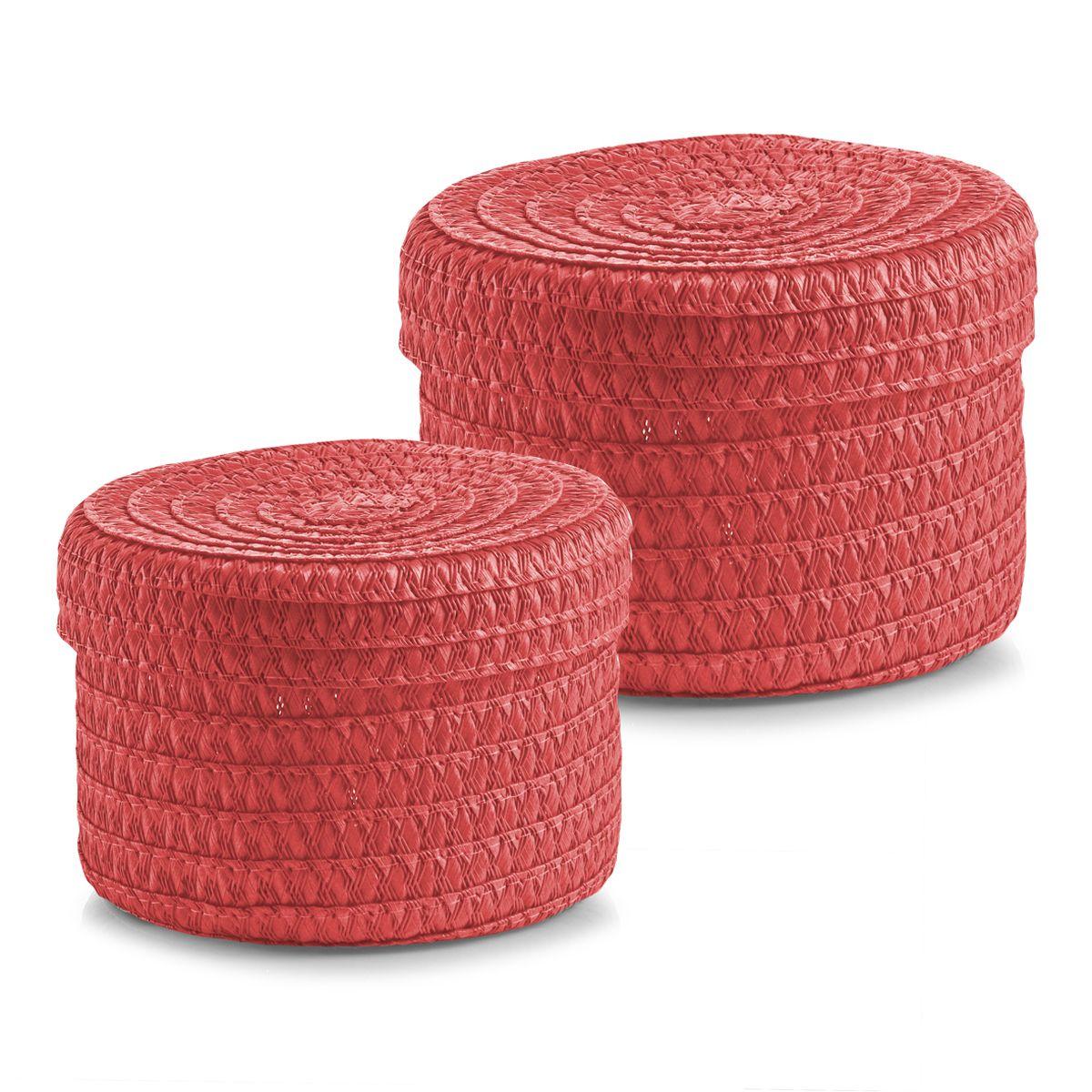 Набор корзин Zeller с крышками, цвет: коралловый, 2 штRG-D31SНабор Zeller состоит из двух корзин разного размера. Корзинки изготовлены из текстиля и оснащены крышками. Изделия идеально подходят для упаковки подарков, цветочных композиций и подарочных наборов, для хранения различных вещей и аксессуаров. Так же они являются прекрасным декоративным элементом интерьера.Такие корзины будут создавать уют и комфорт в вашем доме и станут отличным подарком. Диаметр корзин: 16 см, 17 см. Высота корзин: 10 см, 12 см.
