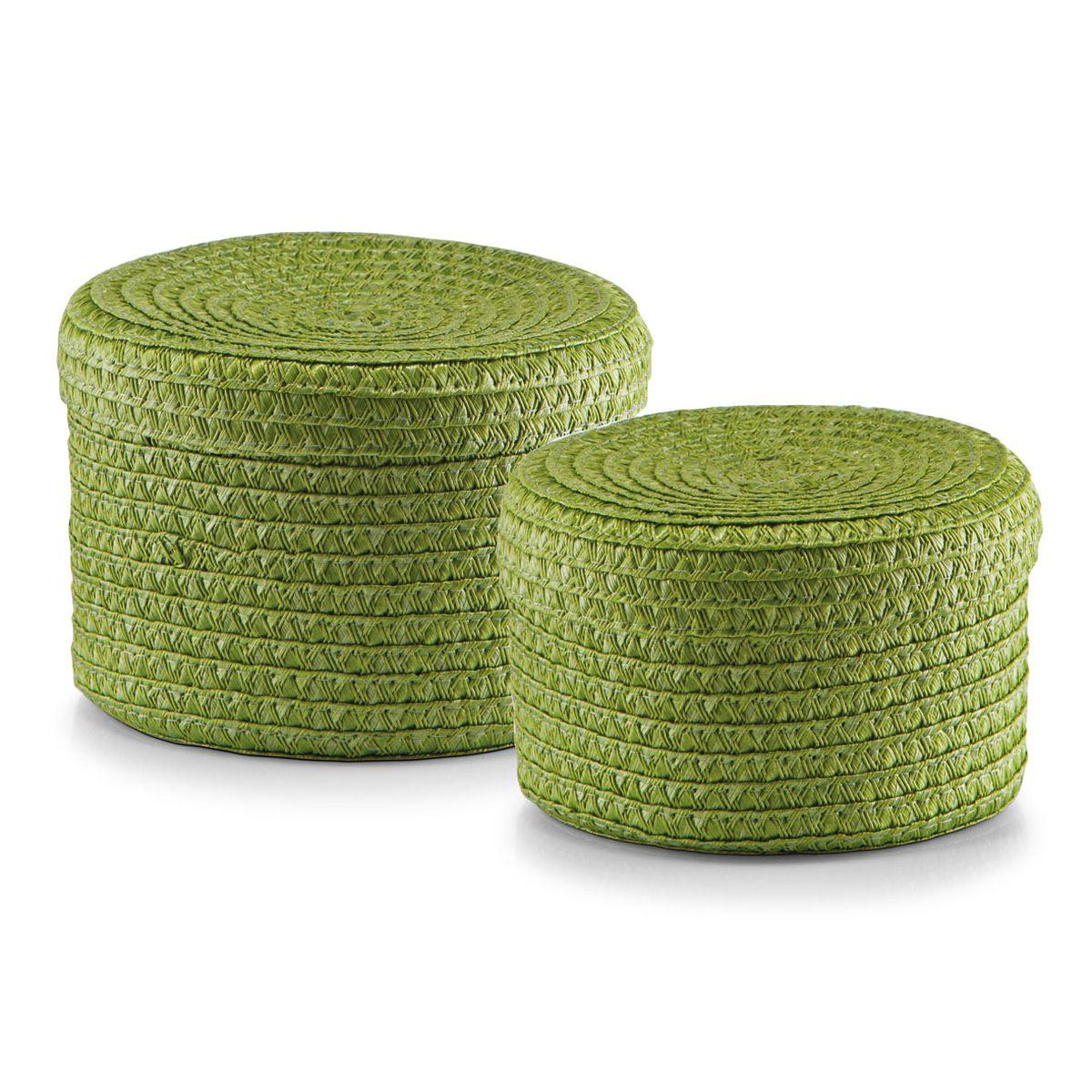 Набор корзин Zeller с крышками, цвет: зеленый, 2 шт74-0120Набор Zeller состоит из двух корзин разного размера. Корзинки изготовлены из текстиля и оснащены крышками. Изделия идеально подходят для упаковки подарков, цветочных композиций и подарочных наборов, для хранения различных вещей и аксессуаров. Так же они являются прекрасным декоративным элементом интерьера.Такие корзины будут создавать уют и комфорт в вашем доме и станут отличным подарком. Диаметр корзин: 16 см, 17 см. Высота корзин: 10 см, 12 см.