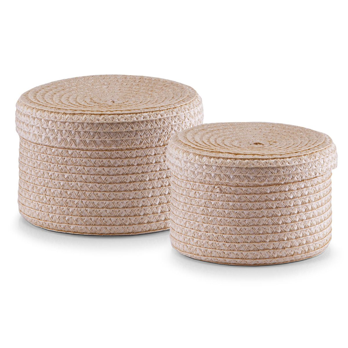 Набор корзин Zeller с крышками, цвет: бежевый, 2 штCLP446Набор Zeller состоит из двух корзин разного размера. Корзинки изготовлены из текстиля и оснащены крышками. Изделия идеально подходят для упаковки подарков, цветочных композиций и подарочных наборов, для хранения различных вещей и аксессуаров. Так же они являются прекрасным декоративным элементом интерьера.Такие корзины будут создавать уют и комфорт в вашем доме и станут отличным подарком. Диаметр корзин: 16 см, 17 см. Высота корзин: 10 см, 12 см.