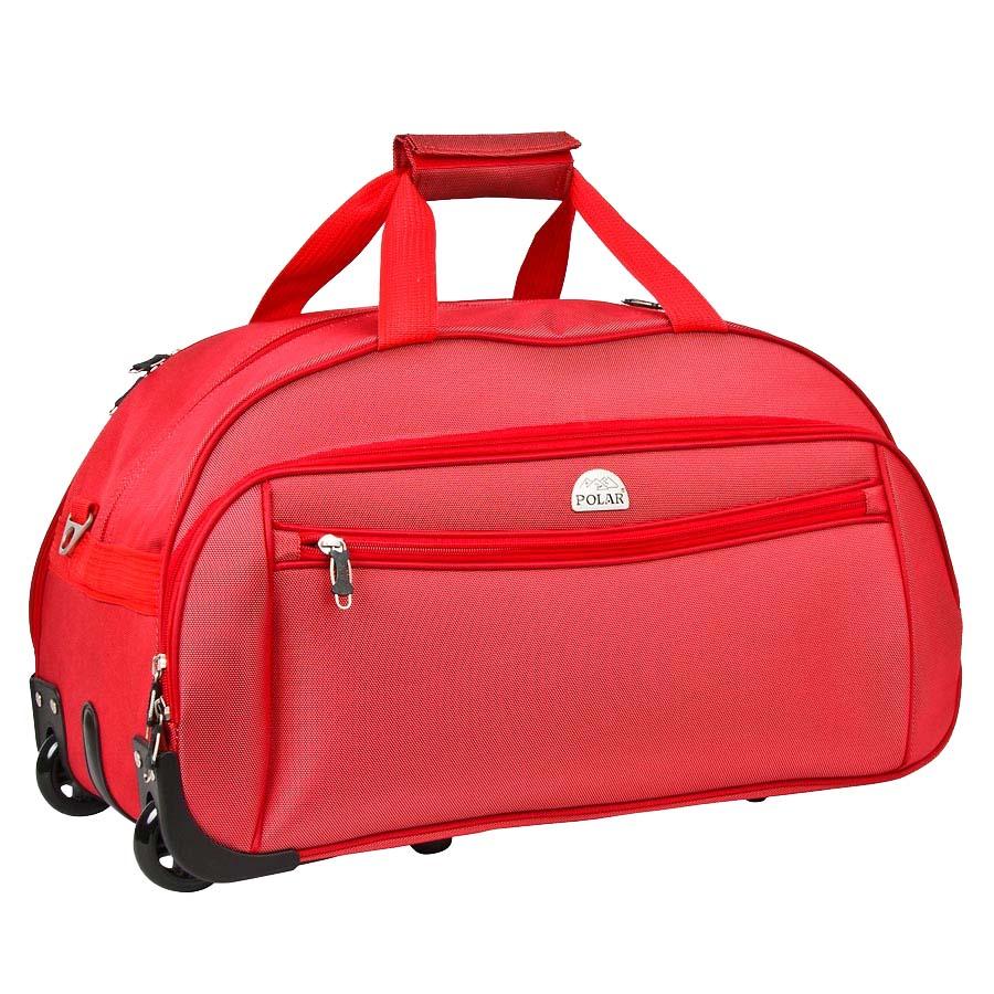 Сумка дорожная на колесах Polar, 59 л, цвет: красный. 7019.5AG7028Сумка на колесах Polar. Основное отделение на подкладке из нейлона. Все стенки сумки пропенены для предотвращения ударных нагрузок. Внутри — карман-сетка. Снаружи — три кармана на молнии. Имеется съемный плечевой ремень, что бы носить сумку через плечо.
