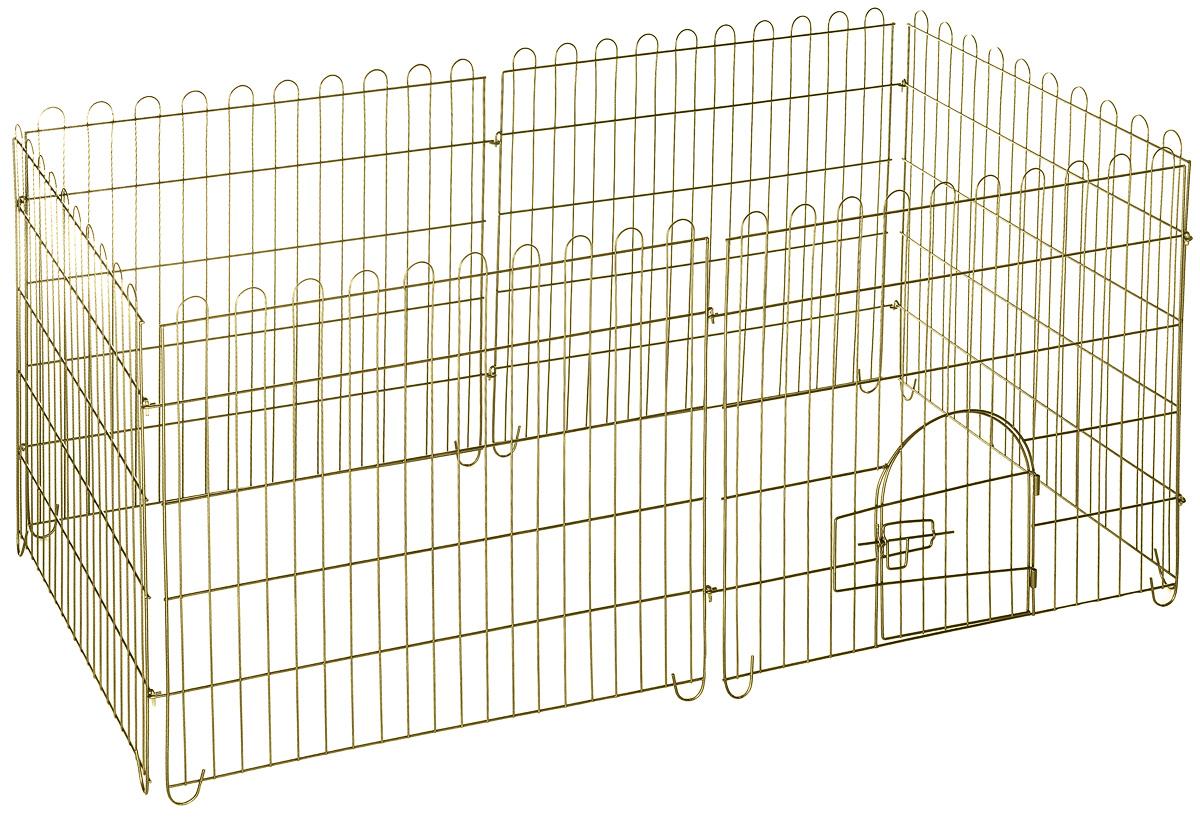 Вольер для животных ЗооМарк, разборный, 6 секций0120710Вольер для животных ЗооМарк, выполненный из металла, состоит из 6 секций, одна из которых снабжена металлической дверцей с запором-задвижкой. Чтобы собрать вольер, нужно вставить штыри, расположенные с боковых сторон секций, в кольца, имеющиеся по бокам. Из панелей можно собрать ограждение для вашего питомца любой формы, используя для этого необходимое количество секций. Секции могут состыковаться друг с другом под любым углом. Вольер предназначен для собак, а также других животных. Подходит для отдыха на природе и ограничения передвижения по участку. В сложенном виде занимает очень мало места, удобен для транспортировки. Размер секции: 75 х 74 см. Расстояние между прутьями: 3,7 см.