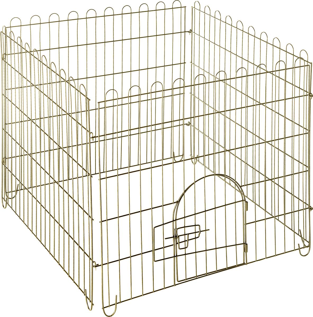 Вольер для животных ЗооМарк, разборный, 4 секции, 75 х 75 х 74 см1642DDВольер для животных ЗооМарк, выполненный из металла, состоит из 4 секций, одна из которых снабжена металлической дверцей с запором-задвижкой. Чтобы собрать вольер, нужно вставить штыри, расположенные с боковых сторон секций, в кольца, имеющиеся по бокам. Из панелей можно собрать ограждение для вашего питомца любой формы, используя для этого необходимое количество секций. Секции могут состыковаться друг с другом под любым углом. Вольер предназначен для собак, а также других животных. Подходит для отдыха на природе и ограничения передвижения по участку. В сложенном виде занимает очень мало места, удобен для транспортировки. Размер вольера: 75 х 75 х 74 см.Размер секции: 75 х 74 см. Расстояние между прутьями: 3,7 см.
