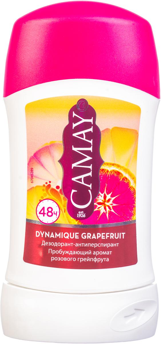 CAMAY Дезодорант-антиперспирант стик Динамик 40млFS-00897Благодаря особенной технологии твердого дезодоранта-антиперспиранта Camay Dynamique Grapefruit аромат идеального сочетания розового грейпфрута и белых цветов не покинет вас надолго и подарит вам необходимую защиту в течение 48 часов.