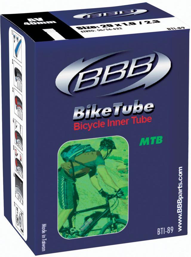 Камера велосипедная BBB, 1,9/2,3 AV 40 mm, 29. BTI-89BTI-89Камера BBB изготовлена из долговечного резинового компаунда. Никаких швов, которые могут пропускать воздух. Достаточно большая для защиты от проколов и достаточно небольшая для снижения веса. Велосипедные камеры - обязательный атрибут каждого велосипедиста! Никогда не выезжайте из дома на велосипеде, не взяв с собой запасную велосипедную шину!Диаметр колеса: 29.Допустимый размер сечения покрышки: 1,9-2,3.Толщина стенки: 0,87 мм.