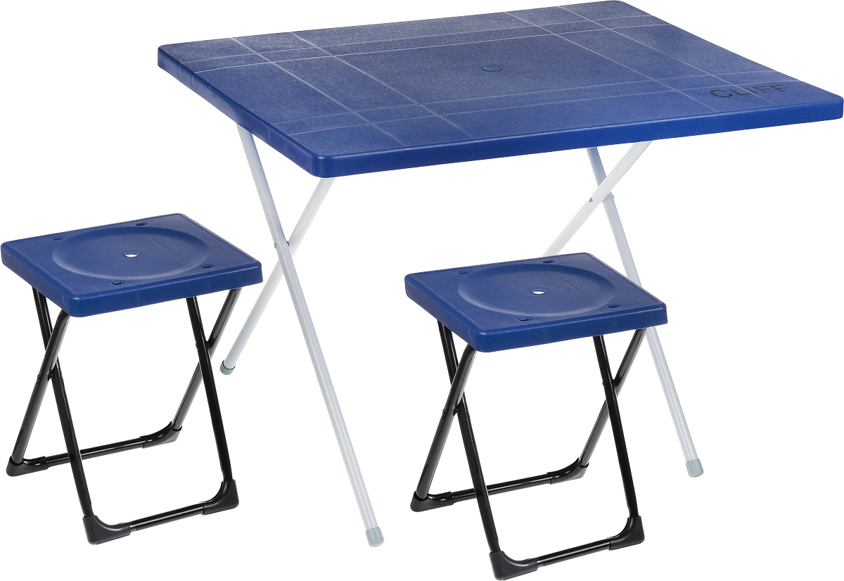 Набор мебели Wildman Симпл Сет, 3 предмета67742Набор складной мебели Wildman Симпл Сет - это идеальное решение для оформления веранды вашего загородного дома или обустройства уголка для отдыха в тени деревьев в саду. Он включает в себя стол и 2 табурета. Каркас мебели выполнен из прочного металла. Столешница и сидения изготовлены из пластика. Ножки стола оснащены резиновыми накладками, благодаря чему он не царапает пол и не сокльзит. Табуреты складываются внутрь стола, что существенно экономит место при транспортировке. Размер столешницы: 80 х 60 см.Высота стола: 50 см.Размер сидячего места: 27 х 24,5 см.Высота табуретов: 38 см.