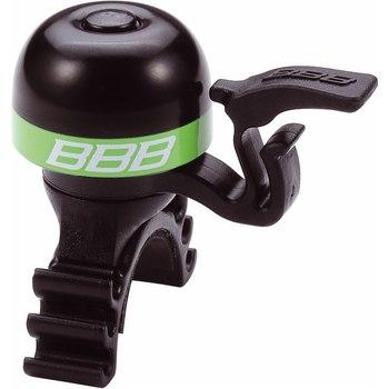 Звонок велосипедный BBB MiniFit, цвет: черный, зеленыйBBB-14Легкий звонок BBB MiniFit выполнен из латуни и оснащен пластиковыми пружиной и молоточком. Можно устанавливать в любом положении. Простое крепление подходит ко всем диаметрам рулей. Звонок легко ставить и снимать.