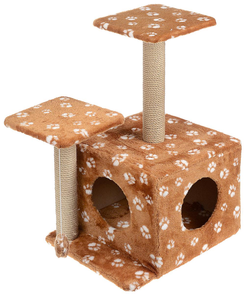 Игровой комплекс для кошек Меридиан, с домиком и когтеточкой, цвет: коричневый, белый, бежевый, 45 х 47 х 75 см101246Игровой комплекс для кошек Меридиан выполнен из высококачественного ДВП и ДСП и обтянут искусственным мехом. Изделие предназначено для кошек. Ваш домашний питомец будет с удовольствием точить когти о специальный столбик, изготовленный из джута. А отдохнуть он сможет либо на полках разной высоты, либо в расположенном внизу домике. Также комплекс оснащен подвесной игрушкой, которая привлечет вашего питомца.Общий размер: 45 х 47 х 75 см.Размер домика: 45 х 36 х 32 см.Высота полок (от пола): 75 см, 45 см.Размер полок: 26 х 26 см.