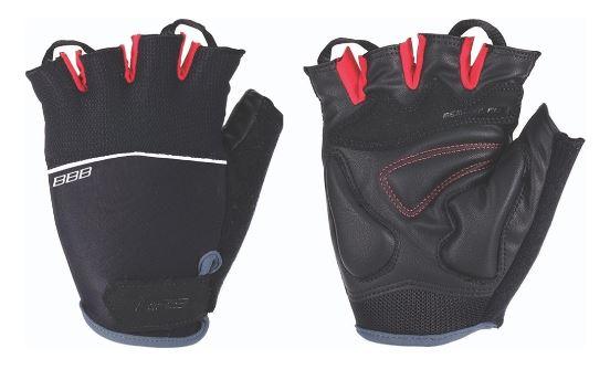 Перчатки велосипедные BBB Omnium, цвет: черный, красный. Размер MBBW-47Велосипедные перчатки BBB Omnium скроены с учетом особенностей строения женских рук. Стильные перчатки с эластичной тыльной стороной выполнены из лайкры и сетчатого материала. Комфортная ладонь из материала clarino и вставкой из материала с эффектом памяти. Также перчатки оснащены вставкой для удаления влаги/пота. Закрепляются на руке они благодаря застежке велькро (Система WristLock).