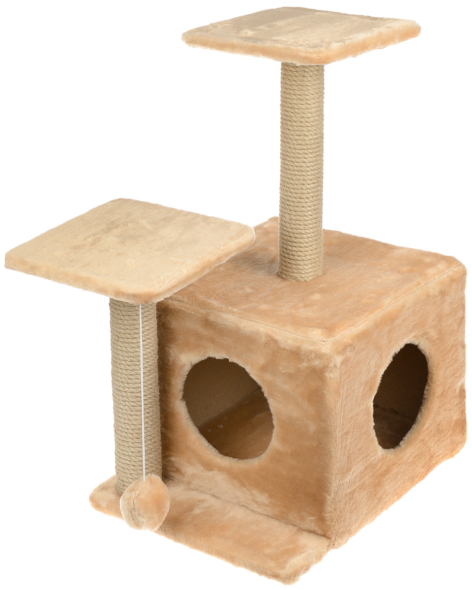Игровой комплекс для кошек Меридиан, с домиком и когтеточкой, цвет: светло-коричневый, бежевый, 45 х 47 х 75 см0120710Игровой комплекс для кошек Меридиан выполнен из высококачественного ДВП и ДСП и обтянут искусственным мехом. Изделие предназначено для кошек. Ваш домашний питомец будет с удовольствием точить когти о специальный столбик, изготовленный из джута. А отдохнуть он сможет либо на полках разной высоты, либо в расположенном внизу домике. Также комплекс оснащен подвесной игрушкой, которая привлечет вашего питомца.Общий размер: 45 х 47 х 75 см.Размер домика: 45 х 36 х 32 см.Высота полок (от пола): 75 см, 45 см.Размер полок: 26 х 26 см.