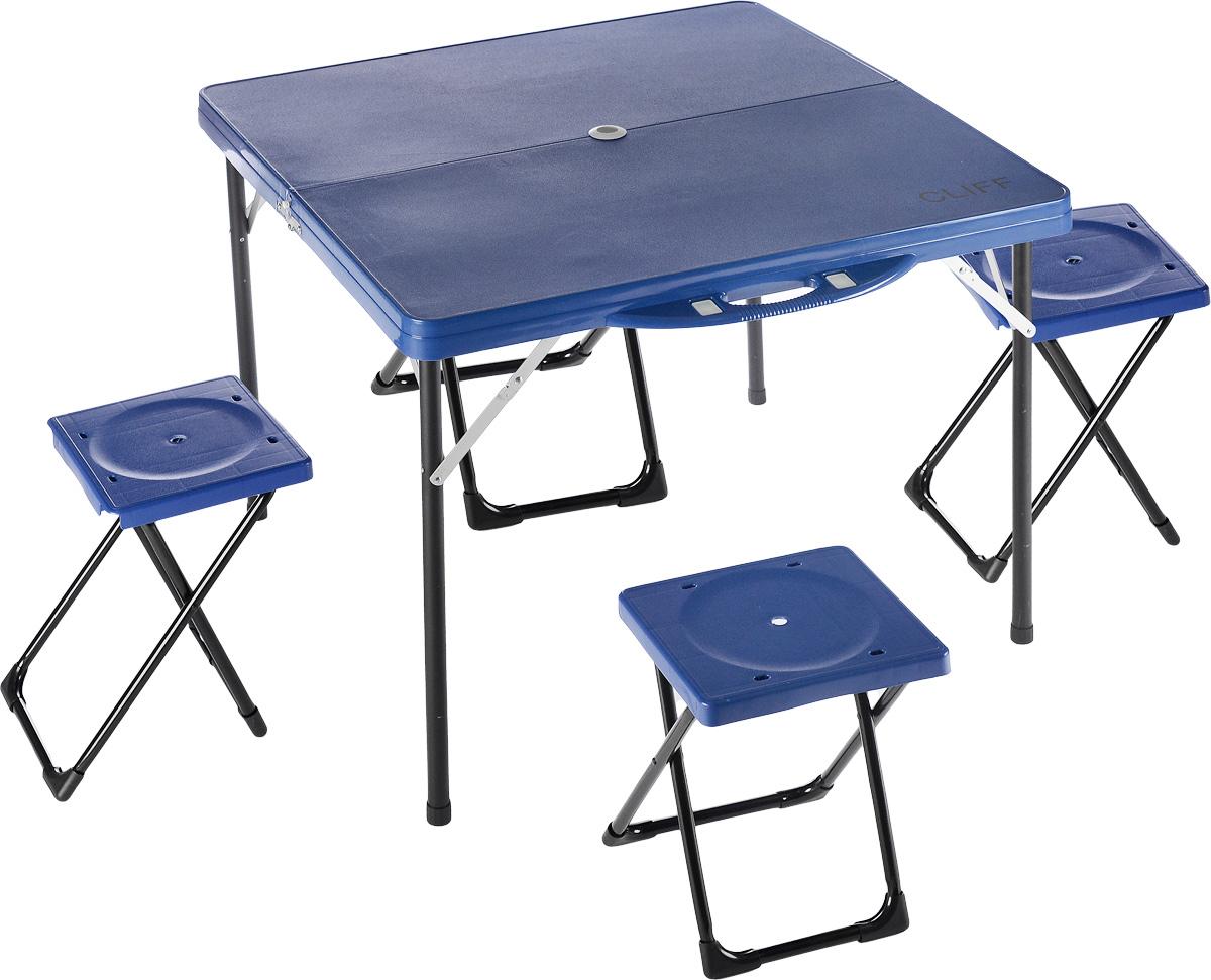 Набор складной мебели Wildman, 5 предметов. 81-5680062391Набор складной мебели Wildman - это отличное решение для выезда на природу. Каркас мебели выполнен из прочного металла, столешница и сиденья - из пластика. Табуреты складываются внутрь стола, что существенно экономит место при транспортировке. Набор включает в себя 1 стол и 4 табурета.Размер стола: 85 х 85 х 69 см.Размер табуретов: 27 х 25 х 39 см.Максимальная нагрузка на стол: 30 кг.Максимальная нагрузка на стулья: 90 кг.
