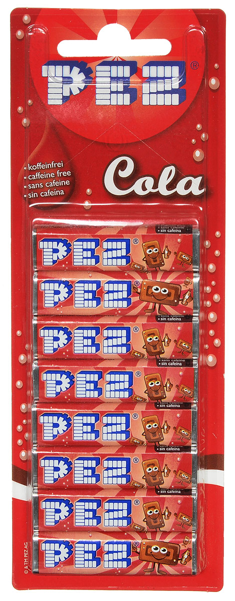 PEZ Cola конфеты, 8 шт0120710PEZ Cola - конфетки-холодки с различными вкусами: вишня, клубника, апельсин, лимон. Они производятся с 1927 года. Продаются в наборе из 8 штук.