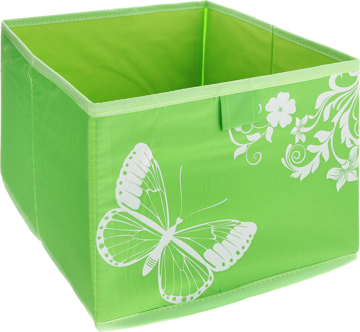 Коробка для хранения Hausmann Butterfly, цвет: салатовый, 28 x 27 x 20 см4P-106-M4С_салатовыйКоробка для хранения Hausmann Butterfly поможет легко организовать пространство в шкафу или в гардеробе. Изделие выполнено из нетканого материала и полиэстера. Коробка держит форму с помощью жесткой вставки из картона, которая устанавливается на дно. Боковая поверхность оформлена ярким принтом с изображением бабочек. В такой коробке удобно хранить одежду, нижнее белье, носки и различные аксессуары.