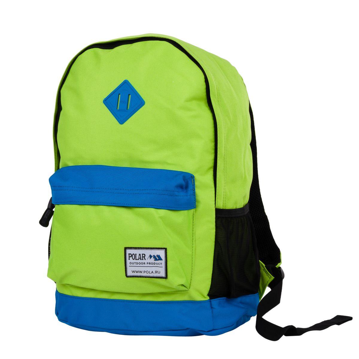 Рюкзак городской Polar, цвет: зеленый, синий, 22,5 л. 1500832104_5509Стильный городской рюкзак изготовлен из полиэстера. Рюкзак имеет одно отделение, которое закрывается на молнию. Внутри карман на молнии и отделение под планшет или ноутбук до 14. Спереди объемный карман для небольших предметов. По бокам два кармана из сетчатого материала на резинке. Удобная поролоновая спинка и лямки регулируемой длины с мягкой подкладкой обеспечивают больший комфорт при переноске.