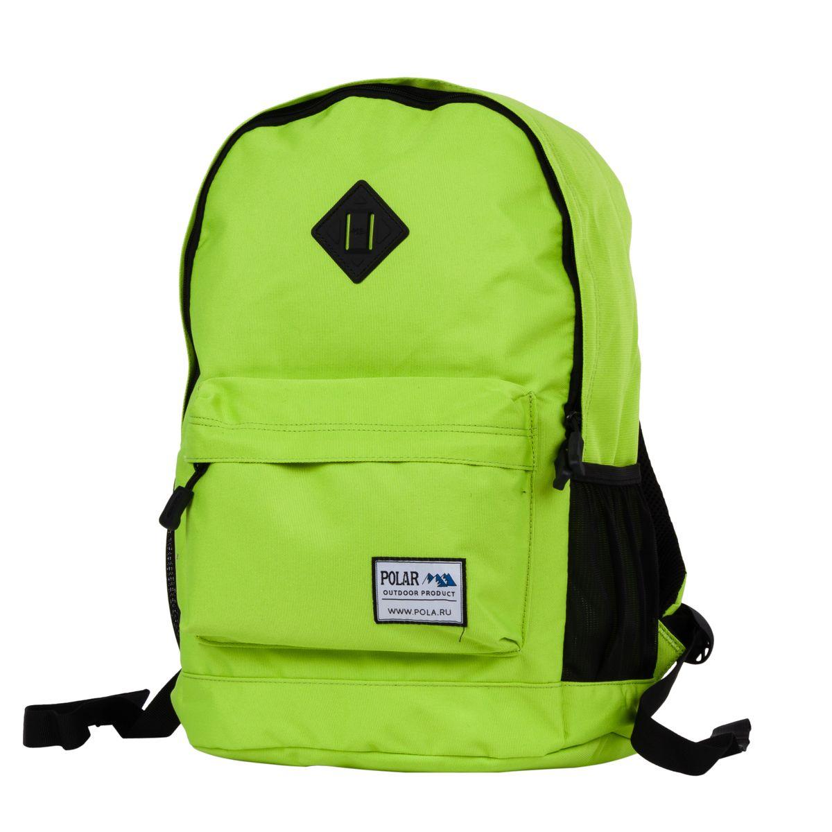 Рюкзак городской Polar, цвет: светло-зеленый, 22,5 л. 1500823736Стильный городской рюкзак изготовлен из полиэстера. Рюкзак имеет одно отделение, которое закрывается на молнию. Внутри карман на молнии и отделение под планшет или ноутбук до 14. Спереди объемный карман для небольших предметов. По бокам два кармана из сетчатого материала на резинке. Удобная поролоновая спинка и лямки регулируемой длины с мягкой подкладкой обеспечивают больший комфорт при переноске.