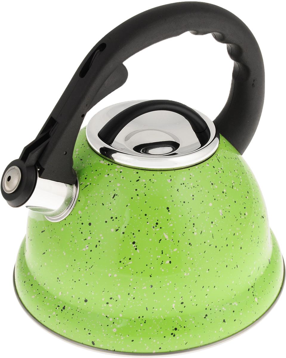 Чайник Mayer & Boch, со свистком, цвет: салатовый, черный, белый, 2,8 л. 2497554 009312Чайник Mayer & Boch выполнен из высококачественной нержавеющей стали, что делает его весьма гигиеничным и устойчивым к износу при длительном использовании. Носик чайника оснащен откидным свистком, звуковой сигнал которого подскажет, когда закипит вода. Свисток открывается нажатием кнопки на ручке. Фиксированная ручка, изготовленная из прочного пластика, делает использование чайника очень удобным и безопасным. Поверхность чайника гладкая, что облегчает уход за ним. Эстетичный и функциональный, такой чайник будет оригинально смотреться в любом интерьере. Подходит для всех типов плит, включая индукционные. Можно мыть в посудомоечной машине. Высота чайника (без учета ручки и крышки): 11,5 см. Высота чайника (с учетом ручки): 23 см. Диаметр чайника (по верхнему краю): 10 см.
