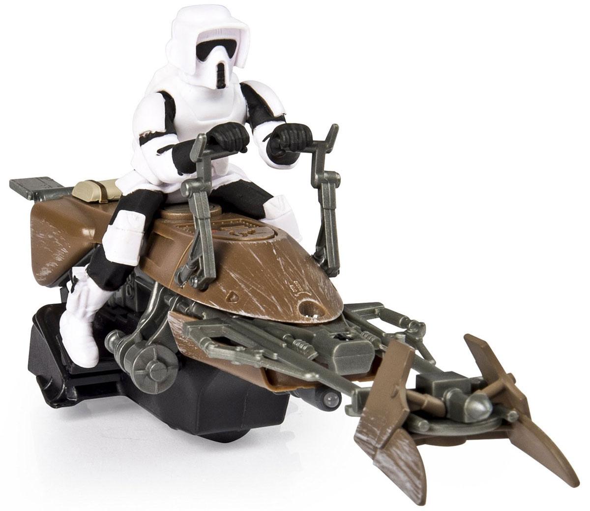 """Игрушка на радиоуправлении Star Wars """"Скоростной байк"""" непременно порадует юного поклонника всеми любимой саги """"Звездные Войны"""". Корпус игрушки ударопрочный. Игрушка выполнена в форме летающего байка Империи из вселенной Звездных Войн. За рулем байка - имперский штурмовик. Для работы игрушки необходимы 3 батарейки типа ААА (не входят в комплект). Для работы пульта управления необходимы 3 батарейки типа ААА (не входят в комплект)."""
