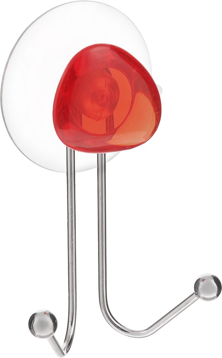 Крючок двойной Axentia Amica, на присоске, цвет: хром, красный, высота 10 см531-105Крючок двойной Axentia Amica изготовлен из хромированной стали и украшен пластиковой вставкой. Крючок крепится к поверхности при помощи присоски. Для надежности крепления присоску необходимо устанавливать на гладкой, воздухонепроницаемой, очищенной и обезжиренной поверхности. Такой крючок прекрасно впишется в интерьер ванной комнаты и поможет эффективно организовать пространство.