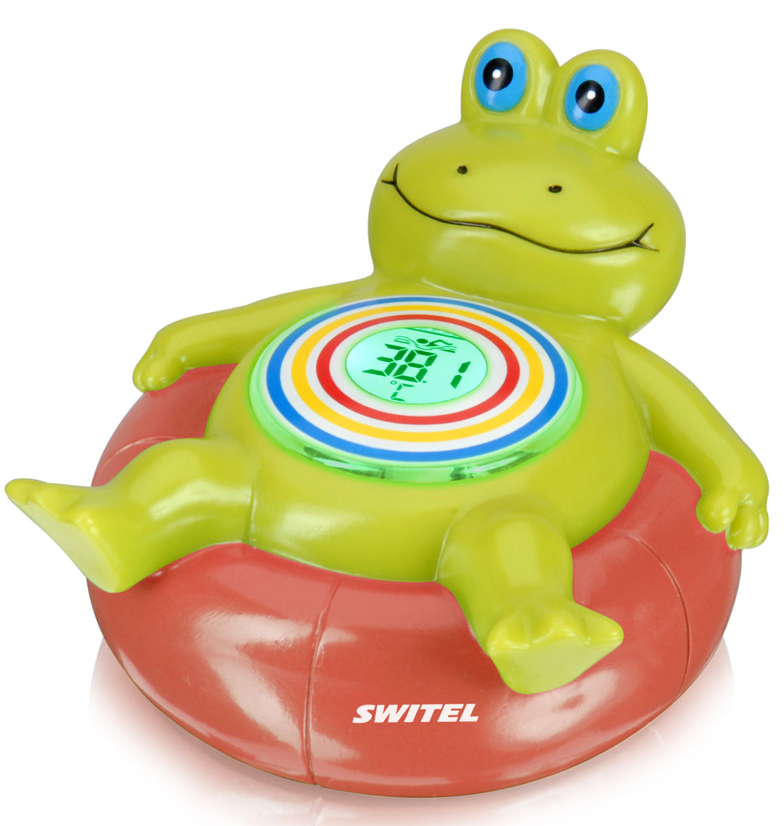 Switel Термометр для воды детский BC300BC300Забавный детский термометр «Лягушонок» от известного швейцарского производителя детских товаров Switel. Замечательная игрушка, с которой малышу весело купаться, оповестит родителей об изменении температур и готовности воды. Цифровой дисплей отображает значение температуры, а цвет подсветки меняется вместе с изменением температуры: красный – вода слишком горячая; зелёный – комфортная; жёлтый – слишком холодная.