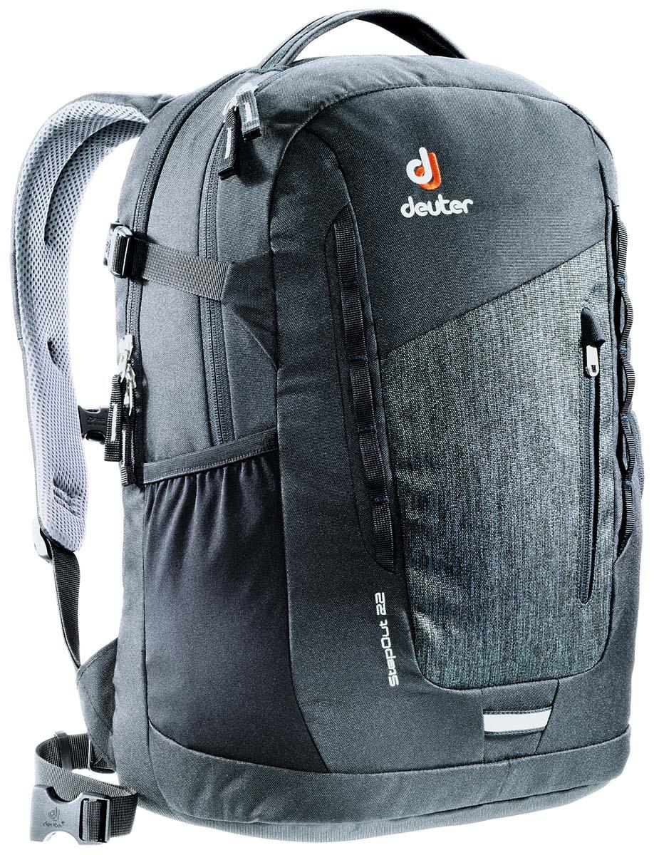 Рюкзак Deuter Daypacks StepOut 22, цвет: черный, серый, 22 л3810415_7712Рюкзак Deuter Daypacks StepOut - это новый удобный рюкзак для города с отделениями для документов. Особенности: Система спинки Airstripes; Плечевые лямки анатомической формы; Отделение для документов; Фронтальный карман на молнии со съемным карабином для ключей; Эластичные боковые карманы; Петля для фонарика безопасности; Ручка для переноски; Петли для навески; Ручка для переноски; Петли для навески; Компрессионные ремни; Главное отделение под размер папки; Дополнительное главное отделение; Один эластичный боковой карман, один боковой карман на молнии; Набедренный пояс. Размер рюкзака: 41 х 24 х 14 см.