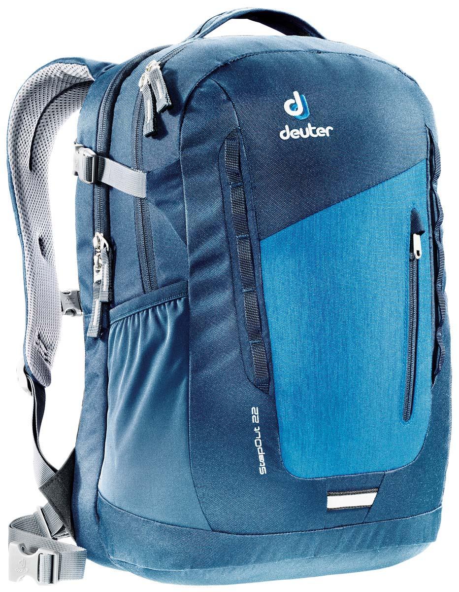 Рюкзак Deuter Daypacks StepOut 22, цвет: темно-бирюзовый, 22 л807Рюкзак Deuter Daypacks StepOut - это новый удобный рюкзак для города с отделениями для документов. Особенности: Система спинки Airstripes; Плечевые лямки анатомической формы; Отделение для документов; Фронтальный карман на молнии со съемным карабином для ключей; Эластичные боковые карманы; Петля для фонарика безопасности; Ручка для переноски; Петли для навески; Ручка для переноски; Петли для навески; Компрессионные ремни; Главное отделение под размер папки; Дополнительное главное отделение; Один эластичный боковой карман, один боковой карман на молнии; Набедренный пояс. Размер рюкзака: 41 х 24 х 14 см.