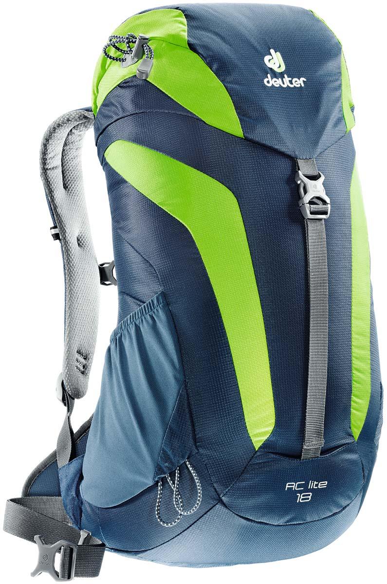 Рюкзак туристический Deuter AC Lite 18, цвет: синий, светло-зеленый, 18 л3420116_3206Компактный, спортивный рюкзак идеально подходит для людей, предпочитающих пешие прогулки. Система подвески AirComfort с великолепной вентиляцией и легкие материалы в конструкции делают рюкзак настолько удобными, что вы забудете, что у вас за спиной рюкзак.Особенности: - система Aircomfort; - анатомические мягкие плечевые лямки; - карман в верхнем клапане; - внутренние карманы на молниях; - практичный замок на клапане; - петли для трекинговых палок; - боковые эластичные карманы; - совместимость с питьевой системой;- съёмный чехол от дождя;- светоотражающий принт. Размеры рюкзака: 54 х 30 х 18 см.