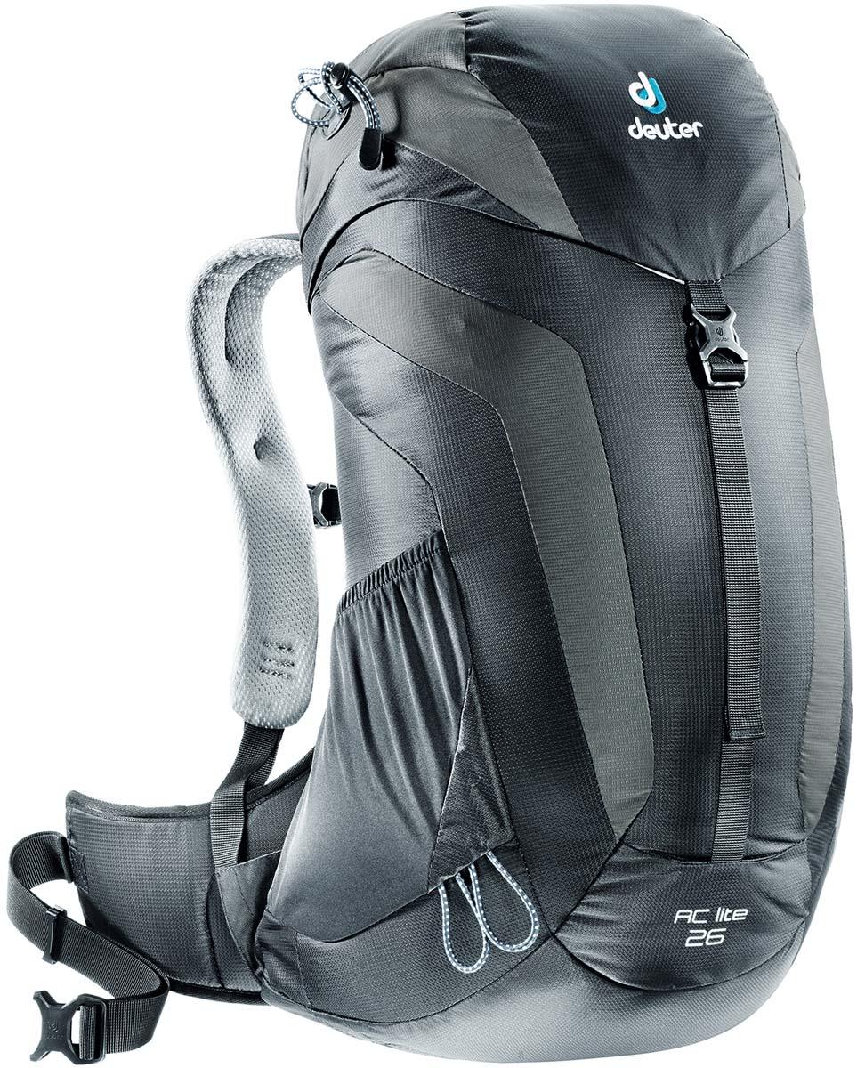 Рюкзак Deuter AC Lite 26, цвет: черный, темно-серый, 26 лKOC-H19-LEDКомпактный, спортивный рюкзак идеально подходит для людей, предпочитающих пешие прогулки. Система подвески AirComfort с великолепной вентиляцией и легкие материалы в конструкции делают рюкзак настолько удобными, что вы забудете, что у вас за спиной рюкзак.Особенности: - система Aircomfort Advanced- анатомические мягкие плечевые лямки обшитые сетчатой тканью 3D AirMesh- карман в верхнем клапане- карман для мелких вещей на молнии- удобная застёжка с одной пряжкой- отражатель 3M- петли для телескопических палок- боковые сетчатые карманы- совместимость с системой снабжение питьевой водой- встроенные съёмный чехол от дождяПлечевые лямки имеют анатомическую форму, подбиты мягкой подкладкой. Прочный упругий стальной каркас обеспечивает гибкость и легкость конструкции, а также натягивает вентиляционную сетку. Прочная сетка Aircomfort обеспечивает удобство и вентиляцию высшего класса: нагретый телом воздух свободно рассеивается с трёх сторон. Размеры рюкзака: 58 х 32 х 20.