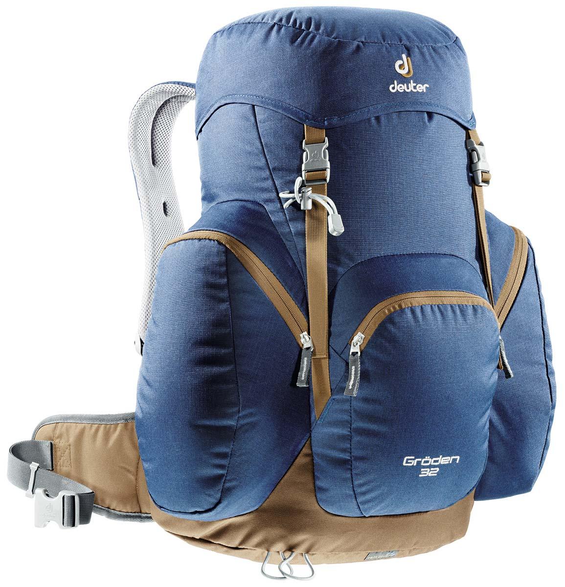 Рюкзак туристический Deuter Groden 32, цвет: синий, коричневый, 32 л67744Рюкзак Groden был представлен в линейке Deuter еще с 1984 года и одним из первых получил революционную технологию подвески Aircomfort, что перевернуло весь рынок спортивных рюкзаков. После этого события другие компании-производители рюкзаков стали копировать технологию Aircomfort, так как она разительно отличалась системой вентиляции спины и удобством, благодаря своему анатомическому строению. В последующие годы Deuter продолжал производство рюкзака Groden, каждый раз обновляя его. Сегодняшний Groden 30 SL – это рюкзак, выдержанный в классическом стиле и предлагающий увеличенный объем, чтобы можно было поместить все необходимое даже в зимних путешествиях.