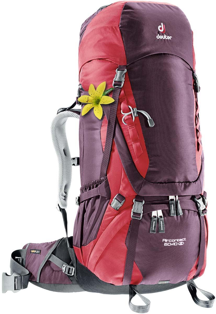 Рюкзак Deuter Aircontact 60+10 SL, цвет: фиолетовый, темно-красный, 70 л3320416_5518Компактный, спортивный рюкзак идеально подходит для людей, предпочитающих пешие прогулки. Анатомическая форма конструкции плечевых лямок и улучшенные крылья набедренного пояса делают рюкзак настолько удобными, что вы забудете, что у вас за спиной рюкзак.Особенности: Большой фронтальный клапан для прямого доступаПодвижный пояс с крыльями Vari Flex и затяжкой Pull-ForwardПерфорированные алюминиевые стержни X-образного каркаса передают нагрузку на бедраБоковые компрессионные стропыКарман на молнии на крыле поясаВерхний клапан, регулируемый по высотеКарман в клапанеВнутренний карман для мелких вещейДве линии петель daisy chainsКольца крепления на верхней крышке клапанаПетли для крепления ледоруба и треккинговых палокОтдельный отсек в нижней частиКомпрессионные стропы внизуДвухслойное дноСъемный чехол от дождяКарман для карт сбокуВторой вместительный карман сбокуSOS лейблСовместимость с питьевой системойОтделение для мокрой одеждыДля моделей Aircontact 50+10SL: Специальный покрой верхней части рюкзакаверхние регулируемые стабилизирующие стропы