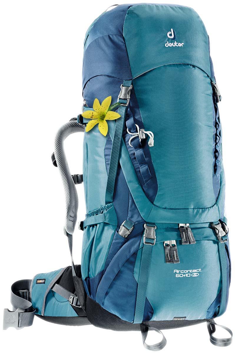 Рюкзак Deuter Aircontact 60+10 SL, цвет: серо-голубой, 70 л3320416_3353Компактный, спортивный рюкзак идеально подходит для людей, предпочитающих пешие прогулки. Анатомическая форма конструкции плечевых лямок и улучшенные крылья набедренного пояса делают рюкзак настолько удобными, что вы забудете, что у вас за спиной рюкзак.Особенности: Большой фронтальный клапан для прямого доступаПодвижный пояс с крыльями Vari Flex и затяжкой Pull-ForwardПерфорированные алюминиевые стержни X-образного каркаса передают нагрузку на бедраБоковые компрессионные стропыКарман на молнии на крыле поясаВерхний клапан, регулируемый по высотеКарман в клапанеВнутренний карман для мелких вещейДве линии петель daisy chainsКольца крепления на верхней крышке клапанаПетли для крепления ледоруба и треккинговых палокОтдельный отсек в нижней частиКомпрессионные стропы внизуДвухслойное дноСъемный чехол от дождяКарман для карт сбокуВторой вместительный карман сбокуSOS лейблСовместимость с питьевой системойОтделение для мокрой одеждыДля моделей Aircontact 50+10SL: Специальный покрой верхней части рюкзакаверхние регулируемые стабилизирующие стропы