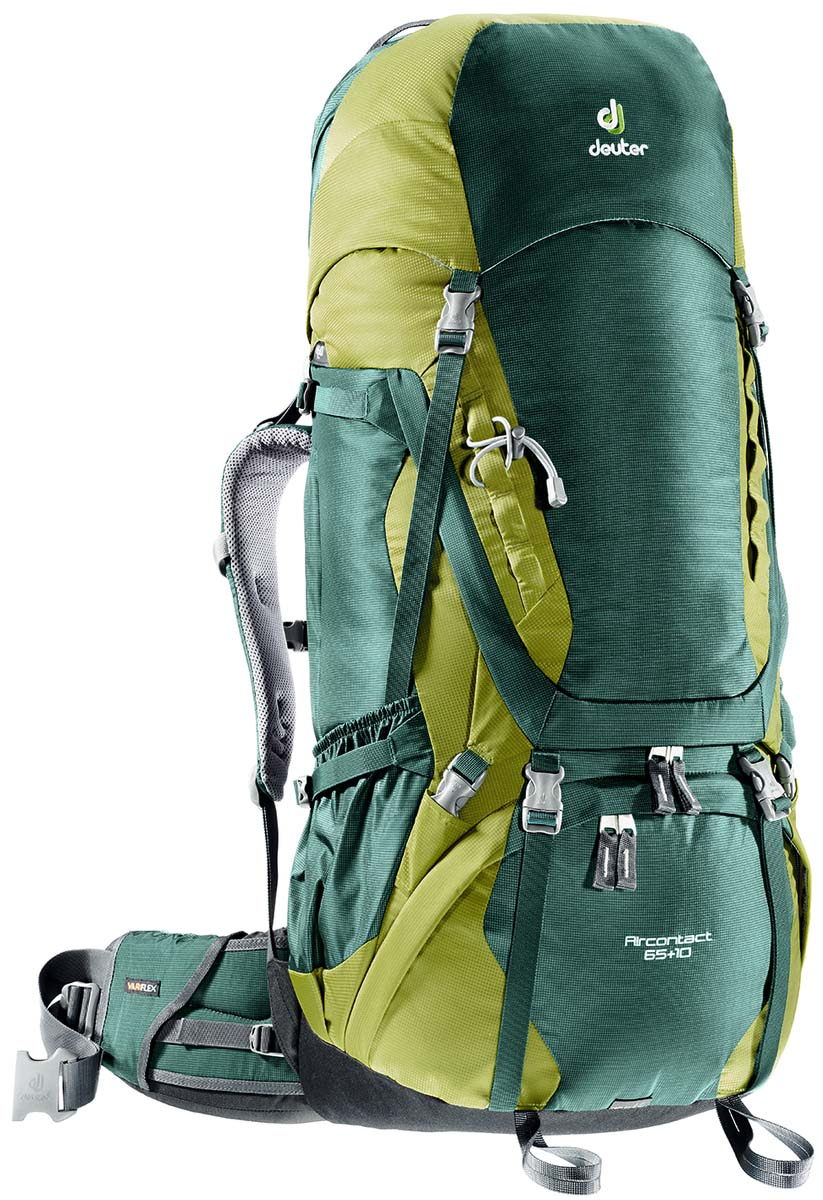 Рюкзак Deuter Aircontact 65+10, цвет: зеленый, темно-зеленый, 75 л3320516_2218Компактный, спортивный рюкзак идеально подходит для людей, предпочитающих пешие прогулки. Анатомическая форма конструкции плечевых лямок и улучшенные крылья набедренного пояса делают рюкзак настолько удобными, что вы забудете, что у вас за спиной рюкзак.Особенности: Большой фронтальный клапан для прямого доступаПодвижный пояс с крыльями Vari Flex и затяжкой Pull-ForwardПерфорированные алюминиевые стержни X-образного каркаса передают нагрузку на бедраБоковые компрессионные стропыКарман на молнии на крыле поясаВерхний клапан, регулируемый по высотеКарман в клапанеВнутренний карман для мелких вещейДве линии петель daisy chainsКольца крепления на верхней крышке клапанаПетли для крепления ледоруба и треккинговых палокОтдельный отсек в нижней частиКомпрессионные стропы внизуДвухслойное дноСъемный чехол от дождяКарман для карт сбокуВторой вместительный карман сбокуSOS лейблСовместимость с питьевой системойОтделение для мокрой одежды