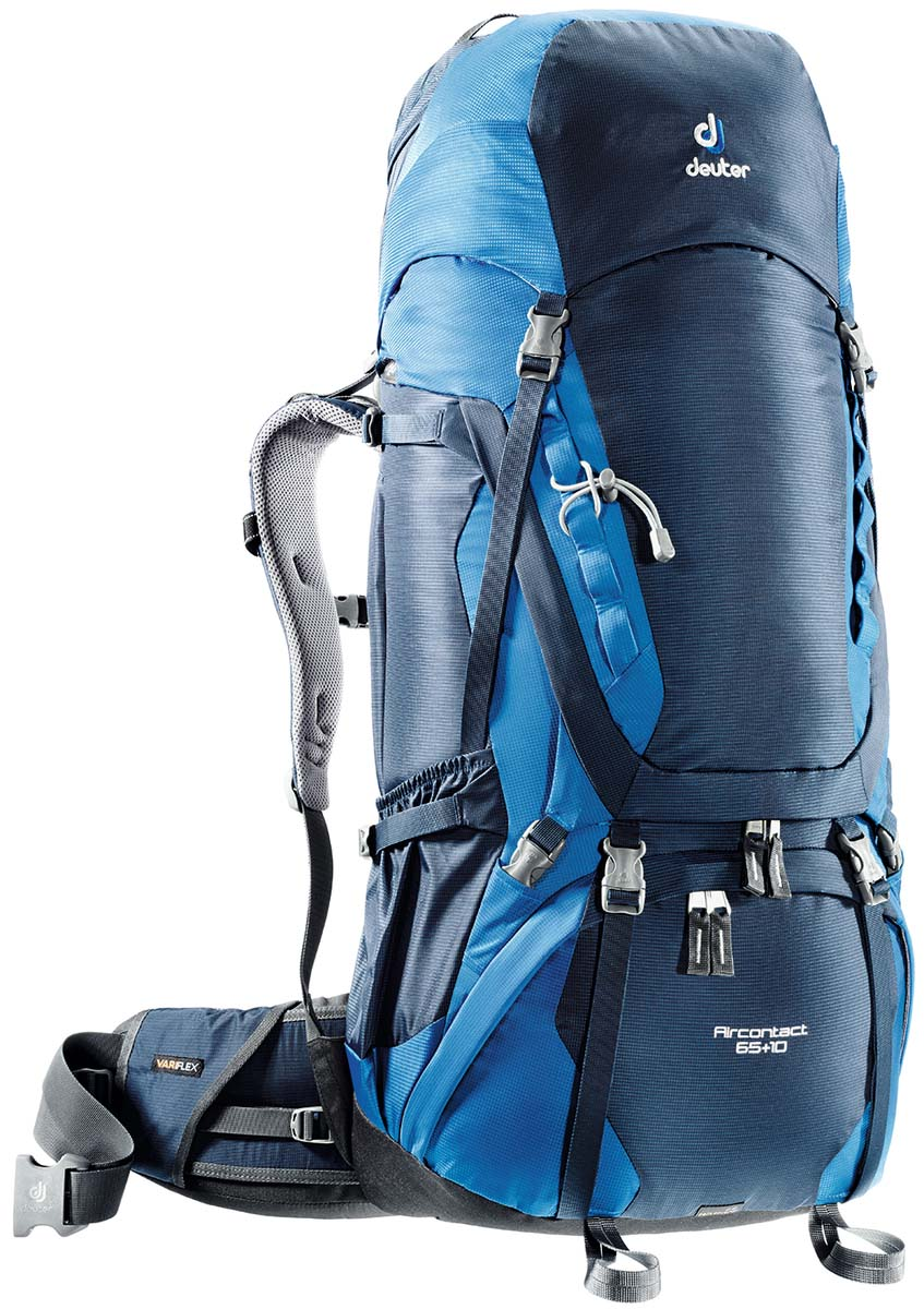 Рюкзак Deuter Aircontact 65+10, цвет: светло-голубой, синий, 75 л67742Компактный, спортивный рюкзак идеально подходит для людей, предпочитающих пешие прогулки. Анатомическая форма конструкции плечевых лямок и улучшенные крылья набедренного пояса делают рюкзак настолько удобными, что вы забудете, что у вас за спиной рюкзак.Особенности: Большой фронтальный клапан для прямого доступаПодвижный пояс с крыльями Vari Flex и затяжкой Pull-ForwardПерфорированные алюминиевые стержни X-образного каркаса передают нагрузку на бедраБоковые компрессионные стропыКарман на молнии на крыле поясаВерхний клапан, регулируемый по высотеКарман в клапанеВнутренний карман для мелких вещейДве линии петель daisy chainsКольца крепления на верхней крышке клапанаПетли для крепления ледоруба и треккинговых палокОтдельный отсек в нижней частиКомпрессионные стропы внизуДвухслойное дноСъемный чехол от дождяКарман для карт сбокуВторой вместительный карман сбокуSOS лейблСовместимость с питьевой системойОтделение для мокрой одежды