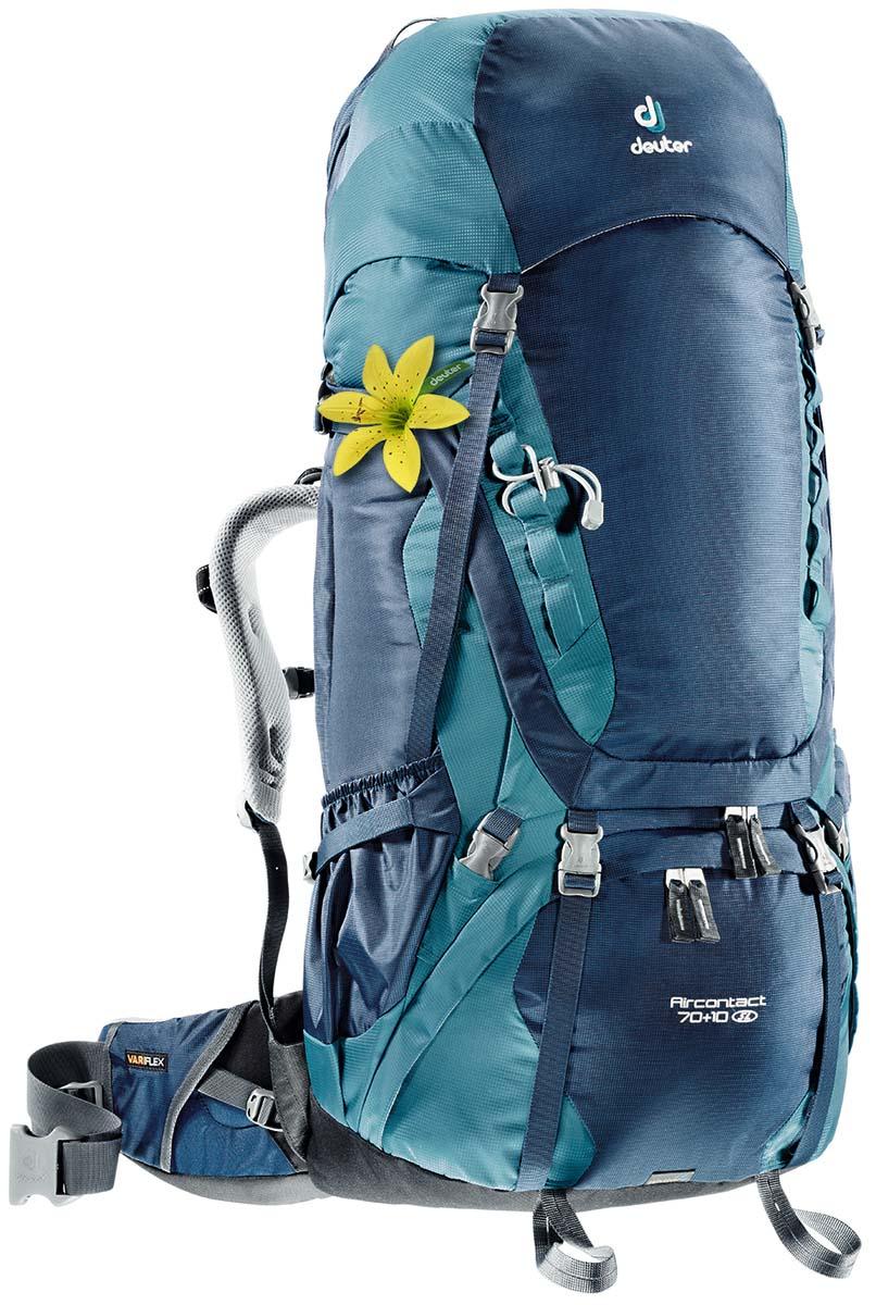 Рюкзак Deuter Aircontact 70+10 SL, цвет: светло-голубой, темно-синий, 80 л67742Спортивный рюкзак идеально подходит для людей, предпочитающих пешие прогулки. Анатомическая форма конструкции плечевых лямок и улучшенные крылья набедренного пояса делают рюкзак настолько удобными, что вы забудете, что у вас за спиной рюкзак.Особенности: Большой фронтальный клапан для прямого доступаПодвижный пояс с крыльями Vari Flex и затяжкой Pull-ForwardПерфорированные алюминиевые стержни X-образного каркаса передают нагрузку на бедраБоковые компрессионные стропыКарман на молнии на крыле поясаВерхний клапан, регулируемый по высотеКарман в клапанеВнутренний карман для мелких вещейДве линии петель daisy chainsКольца крепления на верхней крышке клапанаПетли для крепления ледоруба и треккинговых палокОтдельный отсек в нижней частиКомпрессионные стропы внизуДвухслойное дноСъемный чехол от дождяКарман для карт сбокуВторой вместительный карман сбокуSOS лейблСовместимость с питьевой системойОтделение для мокрой одежды.