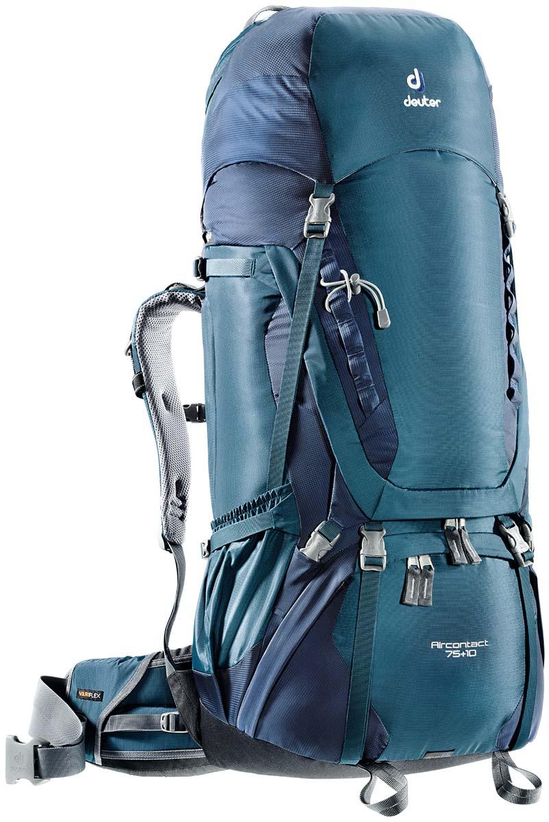 Рюкзак спортивный Deuter Aircontact 75+10, цвет: темно-синий, 85 л67742Спортивный рюкзак идеально подходит для людей, предпочитающих пешие прогулки. Анатомическая форма конструкции плечевых лямок и улучшенные крылья набедренного пояса делают рюкзак настолько удобными, что вы забудете, что у вас за спиной рюкзак.Особенности: Большой фронтальный клапан для прямого доступаПодвижный пояс с крыльями Vari Flex и затяжкой Pull-ForwardПерфорированные алюминиевые стержни X-образного каркаса передают нагрузку на бедраБоковые компрессионные стропыКарман на молнии на крыле поясаВерхний клапан, регулируемый по высотеКарман в клапанеВнутренний карман для мелких вещейДве линии петель daisy chainsКольца крепления на верхней крышке клапанаПетли для крепления ледоруба и треккинговых палокОтдельный отсек в нижней частиКомпрессионные стропы внизуДвухслойное дноСъемный чехол от дождяКарман для карт сбокуВторой вместительный карман сбокуSOS лейблСовместимость с питьевой системойОтделение для мокрой одежды.