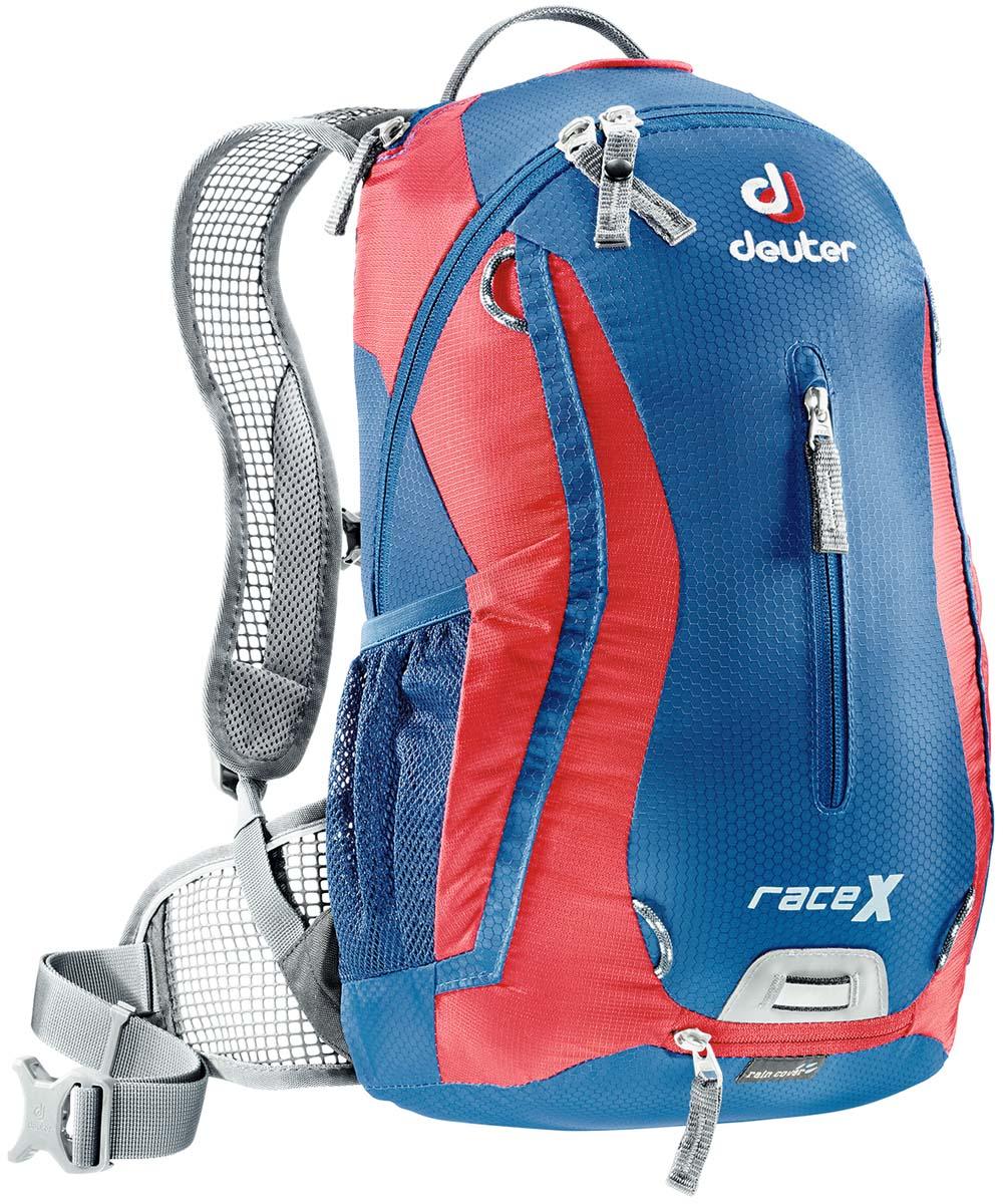 Рюкзак Deuter Race X, цвет: синий, красный, 12 л32123_3515Маленький спортивный и обтекаемый велосипедный рюкзак Deuter Race X. Простой дизайн, технологичный материал Hexlite-идеальный выбор для сторонников минимального веса. Особенности:- вентилируемая спинка Deuter Airstripes; - анатомические плечевые лямки из сетки и нагрудный ремень с удобной регулировкой; - набедренный пояс с сетчатыми крыльями; - наружный карман, небольшой верхний карман на молнии, передний карман; - отражатели 3M спереди, сзади и по бокам; - внутренний карман для мелких вещей; - петля для крепления ночного габарита Safety Blink; - чехол от дождя; - сетчатые боковые карманы; Вес: 600 грамм. Объём: 12 литров. Размеры: 44x24x18 см.